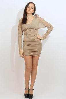 Коктейльное платье бежевого цвета Kokette со скидкой