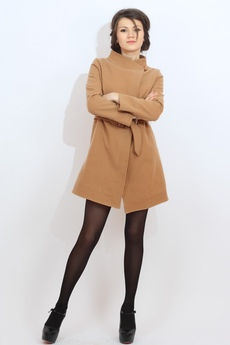 Пальто женское с поясом (бежевое) Kokette