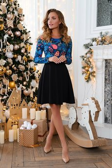 Черное платье с синими цветами Open-Style