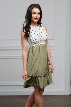 Платье оливкового цвета Look Russian со скидкой