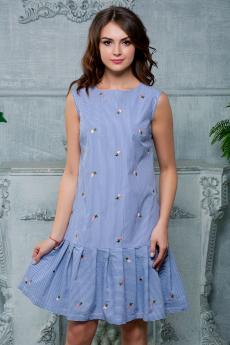 Платье в полоску с вышивкой Look Russian со скидкой